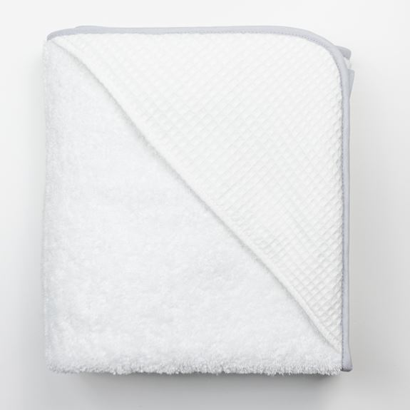 Hooded Towel - White Waffle Grey Trim