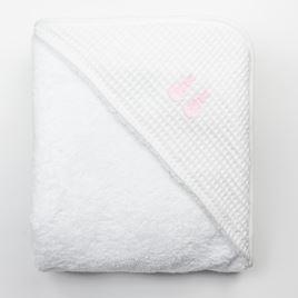 Hooded Towel - Embroidered Bunny Pink