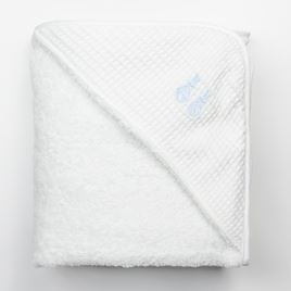 Hooded Towel - Embroidered Bunny Blue