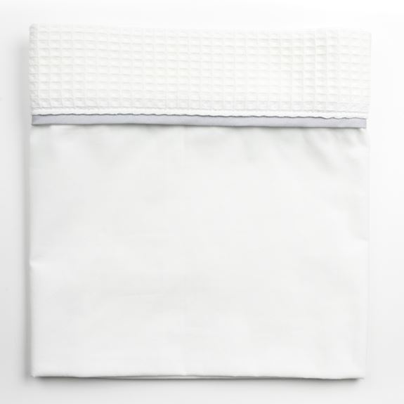 Cot Bed Sheet - Waffle White Trim