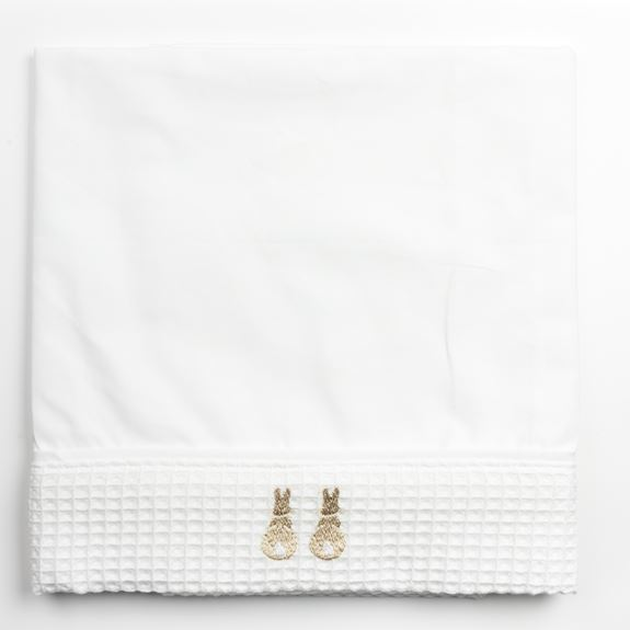 Cot Bed Sheet - Embroidered Bunny Beige