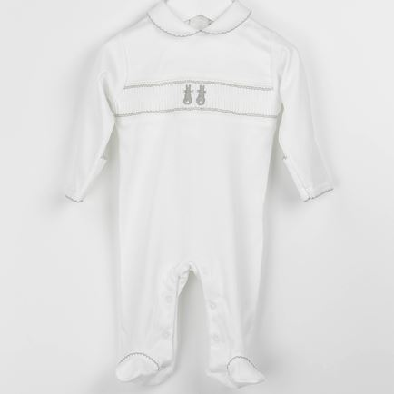 Embroidered Bunny Smocked Babygrow- Grey