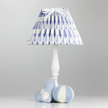 Pleated Lampshade - Rabbit Trellis Blue
