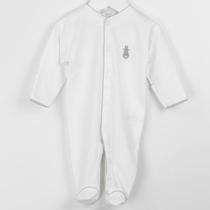 Embroidered Bunny Babygrow- Grey