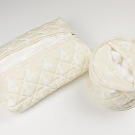 Cotton Wool Holder or Tissue Cover - Rabbit Trellis Cream