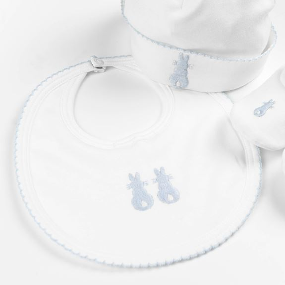 Embroidered Bunny Bib - Blue