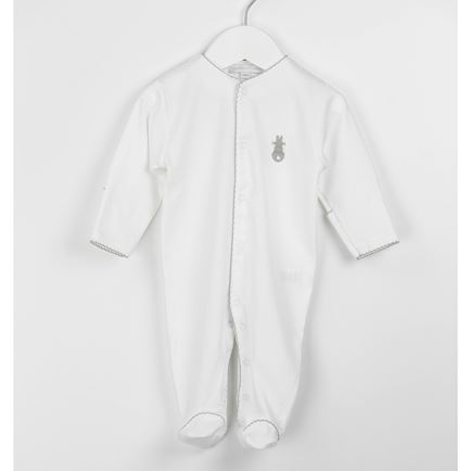 Embroidered Bunny Babygrow - Grey