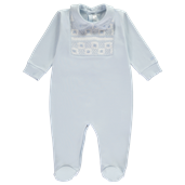 Square Smocked Babygrow - Blue