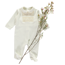 Square Smocked Babygrow - Neutral