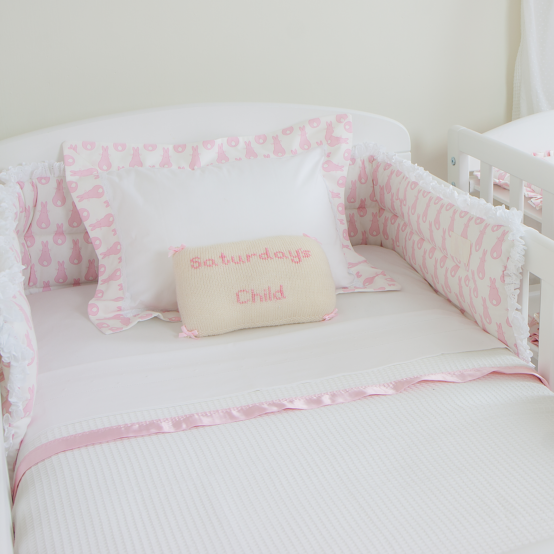 Cot Bumper Rabbit Trellis Pink