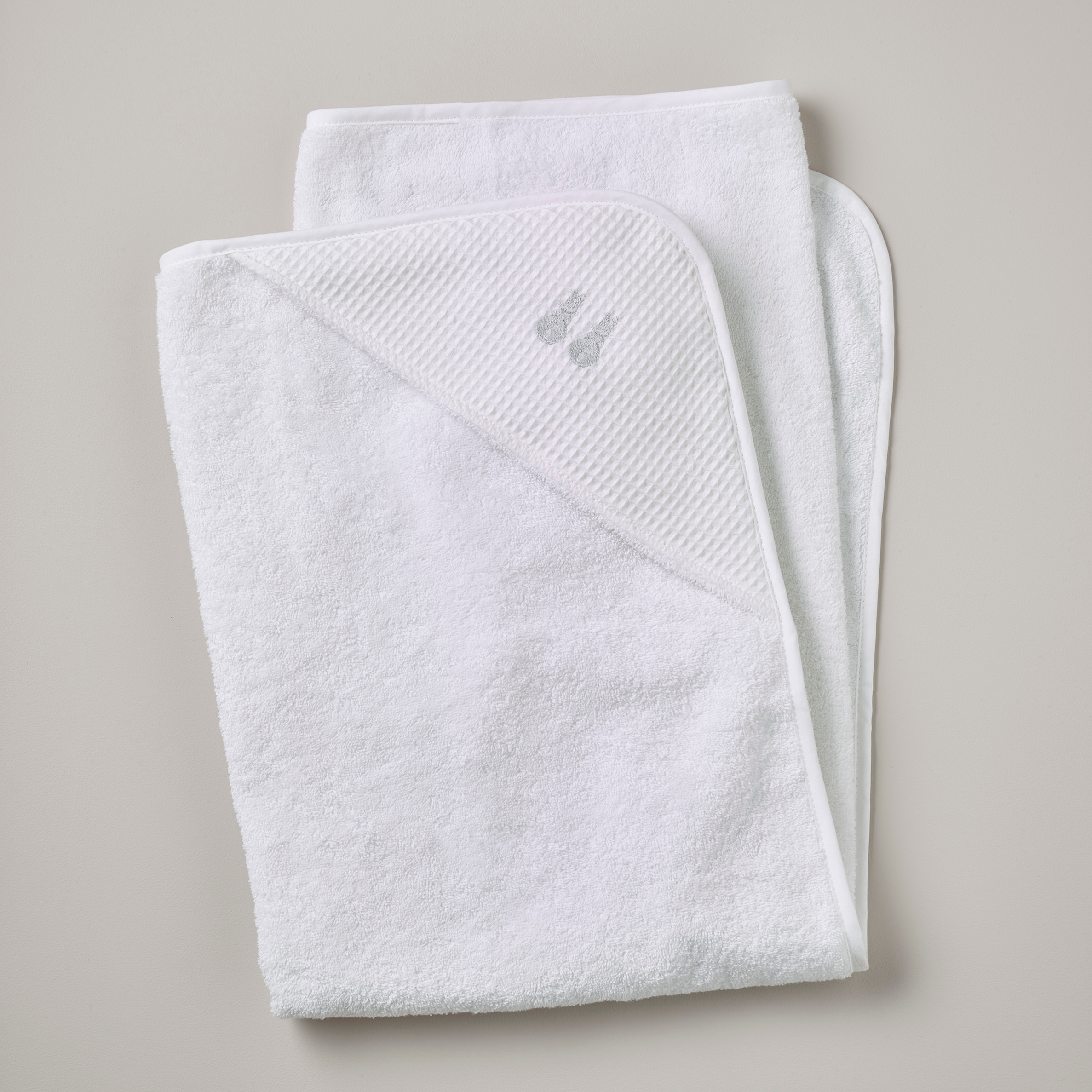 Hooded Towel Embroidered Bunny Grey