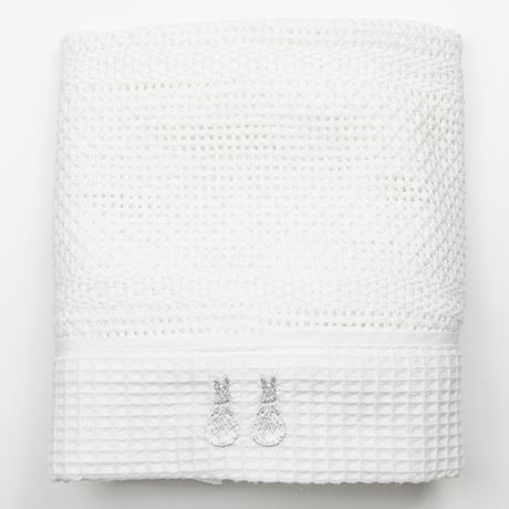 Embroidered Cellular Cot Blanket
