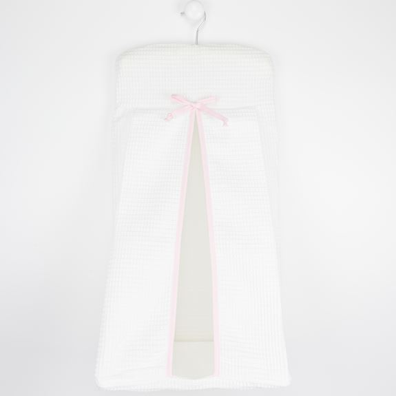 Nappy Stacker - White Waffle Pink Trim