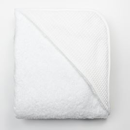Hooded Towel - White Waffle White Trim