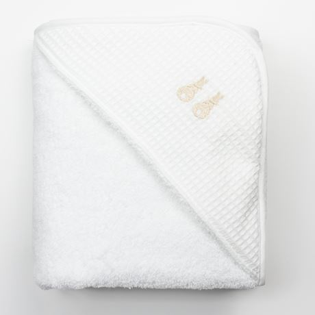 Hooded Towel - Embroidered Bunny Beige