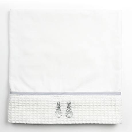 Moses Top Sheet - Embroidered Bunny Grey