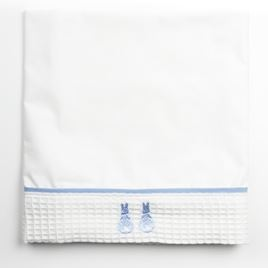 Cot Bed Sheet - Embroidered Bunny Blue