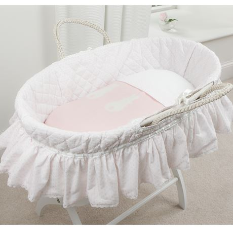 Moses Basket Set - Spot Voile White