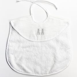 Bib - Embroidered Bunny Grey