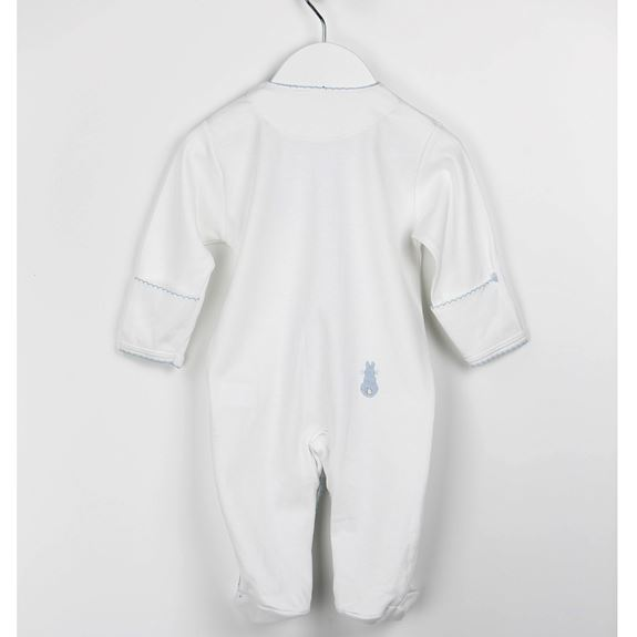 Embroidered Bunny Babygrow- Blue