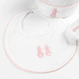Embroidered Bunny Bib - Pink