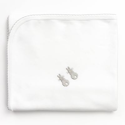 Embroidered Bunny Swaddling Wrap - Grey
