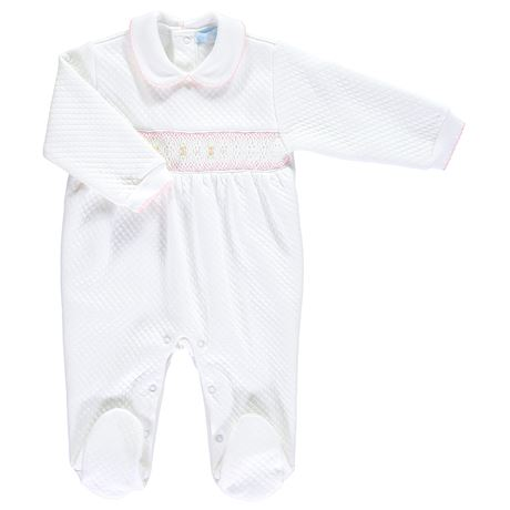 Quilted Smocked Babygrow - White & Pink