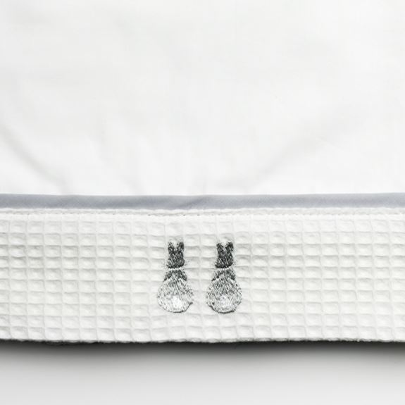 Cot Bed Sheet - Embroidered Bunny Grey