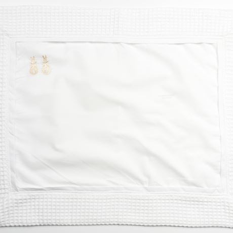 Pillowcase - Embroidered Bunny Beige