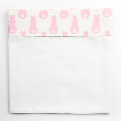 Cot Bed Sheet - Rabbit Trellis Pink