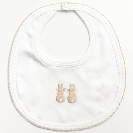 Embroidered Bunny Bib - Beige