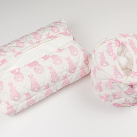 Cotton Wool Holder or Tissue Cover - Rabbit Trellis Pink