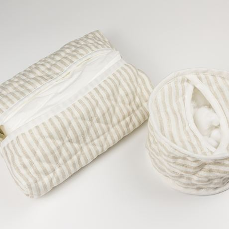 Cotton Wool Holder or Tissue Cover - Linen Stripe