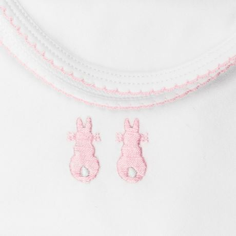 Embroidered Bunny Swaddling Wrap - Pink