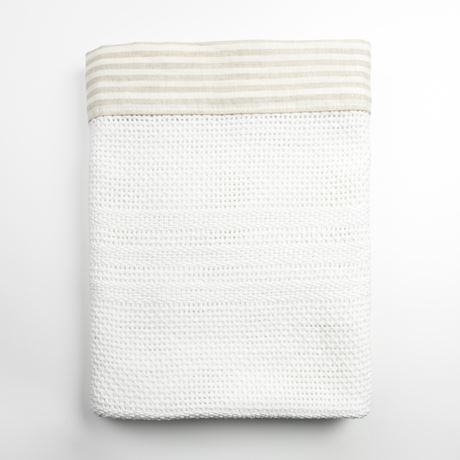 Cellular Edged Cot Blanket - Linen Stripe Beige